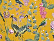Canvas Stoff tropische Vögel Blumen Gräser, ockergelb