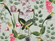 Canvas Stoff tropische Vögel Blumen Gräser, mint