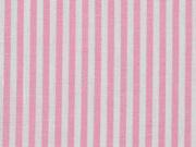 Baumwollstoff Streifen 3 mm garngefärbt, weiß rosa