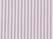 Baumwollstoff Streifen 3 mm garngefärbt, altrosa weiss