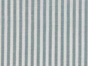 Baumwollstoff Streifen 3 mm garngefärbt, altmint weiss