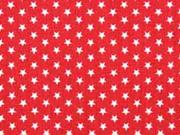 Baumwollstoff kleine Sterne Mini Stars, weiß rot