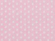 Baumwollstoff kleine Sterne Mini Stars, weiß hellrosa