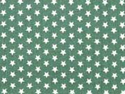 Baumwollstoff kleine Sterne Mini Stars, weiß dunkelgrün