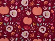 Baumwollstoff Äpfel Blumen, rosa weinrot