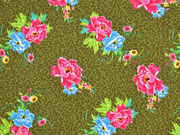 Baumwollstoff Blumen Leomuster, mittelblau pink khaki