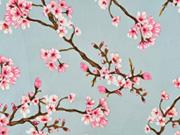 Viskose Stoff Kirschblüten, rosa weiß hellblau