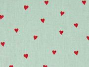 Baumwollstoff kleine Herzen, rot mint