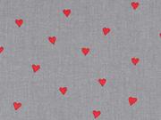 Baumwollstoff kleine Herzen, rot dunkelgrau
