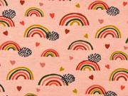 Jersey Regenbögen Herzen, grau ocker rosa