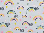 RESTSTÜCK 37 cm Jersey Regenbögen Herzen, dunkelblau ocker grau