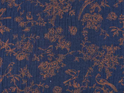 Musselin Stoff Vögel Blumen Ranken, hellbraun dunkelblau