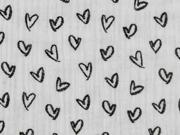 Musselin Stoff Herzen, schwarz weiß