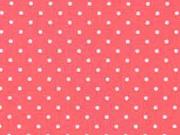Baumwollstoff kleine Punkte Petite Dots, weiß koralle