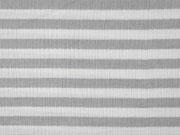 Musselin Stoff Double Gauze Streifen, grau weiß