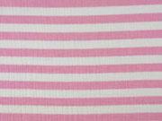 Musselin Stoff Double Gauze Streifen, rosa weiß