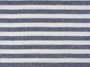 RESTSTÜCK 20 cm Musselin Stoff Double Gauze Streifen, dunkelblau weiß