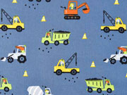 Baumwollstoff Baustellenfahrzeuge, jeansblau