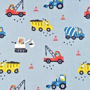 Baumwollstoff Baustellenfahrzeuge, rauchblau