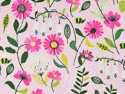 Baumwollstoff Blumen, pink rosa
