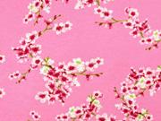Soft Sweatstoff Kirschblüten Zweige, rosa altrosa