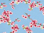 Soft Sweatstoff Kirschblüten Zweige, rosa hellblau