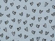 Musselin Stoff Herzen Double Gauze, schwarz jeansblau