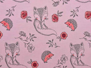 Jersey Stoff Füchse Igel Blumen, rosa