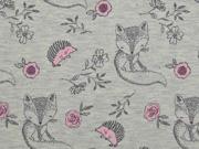 Jersey Stoff Füchse Igel Blumen, rosa grau meliert