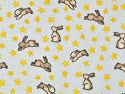 Flanell Stoff Hasen Sterne, beige grau