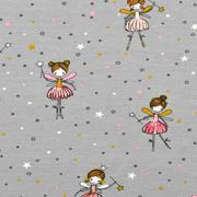 Jerseystoff Elfe Ballerina Zauberstab Sterne, grau