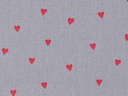 Baumwollstoff kleine Herzen beschichtet, rot grau