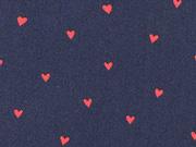 Baumwollstoff kleine Herzen beschichtet, rot dunkelblau