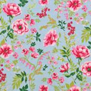 Baumwollstoff Blumen Zweige Blätter, pink rosa hellblau