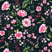 Baumwollstoff Blumen Zweige Blätter, pink rosa schwarz