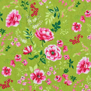 Baumwollstoff Blumen Zweige Blätter, pink rosa gelbgrün