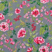 Baumwollstoff Blumen Zweige Blätter, pink rosa grau