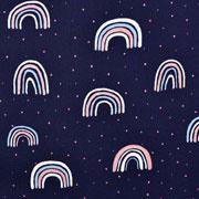 Baumwollstoff Regenbogen Glitzer, dunkelblau