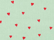 Baumwollstoff kleine Herzen beschichtet, rot mint