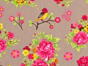 Baumwollstoff Rosen und Vögel, beige