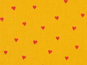 Baumwollstoff kleine Herzen beschichtet, rot ockergelb