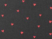 Baumwollstoff kleine Herzen beschichtet, rot schwarz