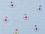 RESTSTÜCK 22 cm Baumwollstoff Papierschiffchen Wellen, hellblau