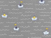 Baumwollstoff Papierschiffchen Wellen, grau