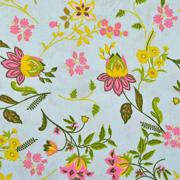 Baumwollstoff Blumen Ranken, pink hellmint