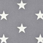 Baumwollstoff große Sterne beschichtet Big Stars, weiß grau