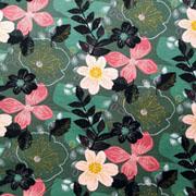 RESTSTÜCK 47 cm Sweatstoff Soft Sweat Blumen, altrosa dunkelgrün