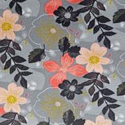 Sweatstoff Soft Sweat Blumen, aprikot grau