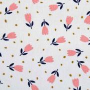 Feincord Stoff Tulpen Blumen, aprikot wollweiss