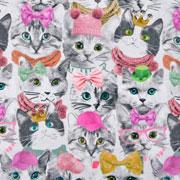 Jerseystoff Katzen mit Brille GOTS, cremeweiß
